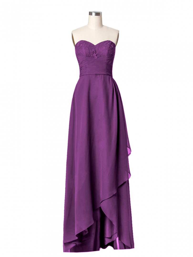 Corte A Gasa Grape Cremallera Beaded, Pleated Hasta el Suelo-Longitud Novio Sin Mangas Largos Vestidos de Dama de Honor