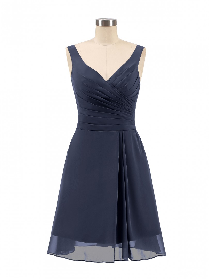Corte A Gasa Dark Navy Cremallera Ruched, Pleated Corto-Mini Escote En V Tirantes Vestidos de Dama de Honor
